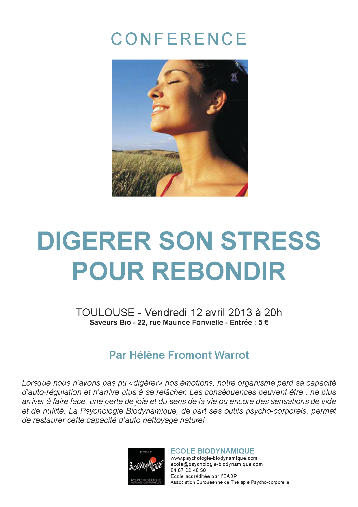 "Conférence ""Digérer son stress pour rebondir"" 12 avril 2013, Toulouse"